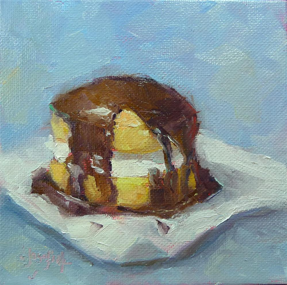 """Boston Cream mini-cake"" original fine art by Carol Josefiak"