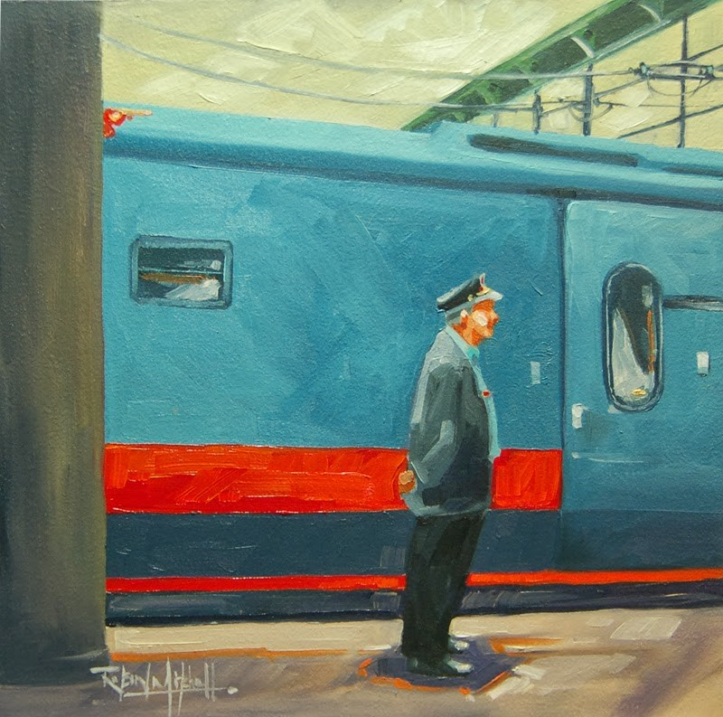 """No 619 Waiting for Passangers"" original fine art by Robin J Mitchell"