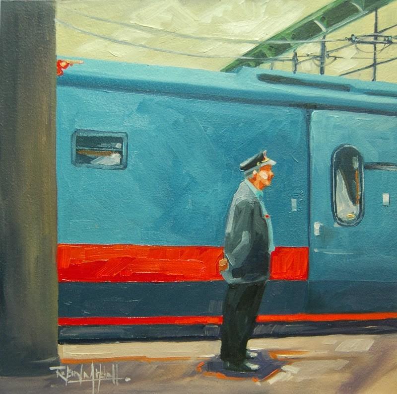 """No 619 Waiting for Passangers"" original fine art by Robin J Mitchell"