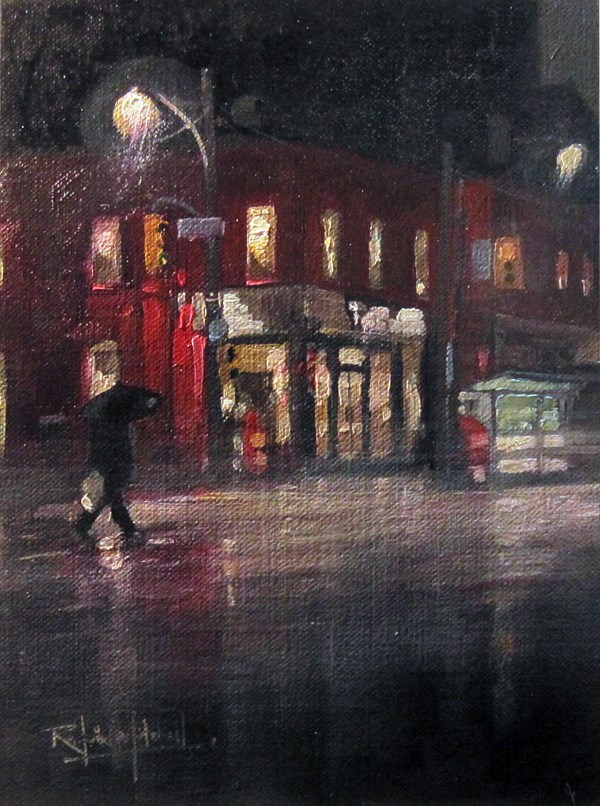 """No 782 Night time showers"" original fine art by Robin J Mitchell"
