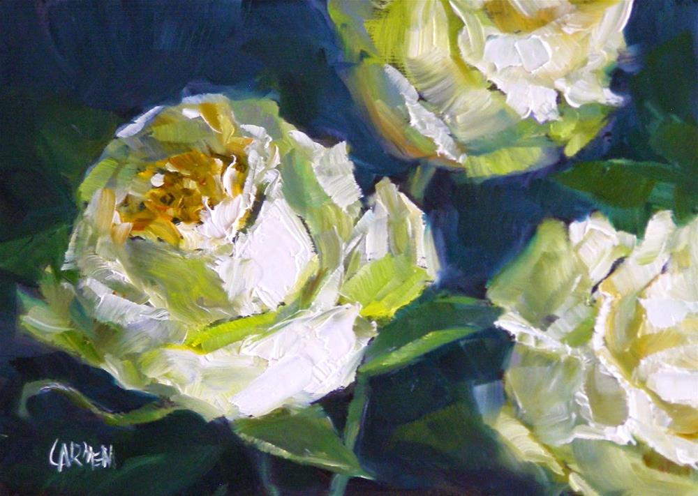 """Mary's Roses, 7x5 Oil on Canvas Panel"" original fine art by Carmen Beecher"