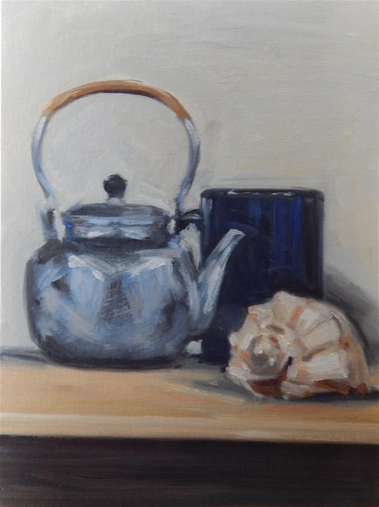 """Teapot, Shell and Blue Mug on a Shelf"" original fine art by Megan Schembre"