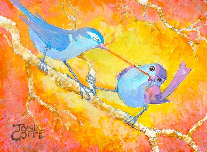 """Nesting Fight"" original fine art by Toni Goffe"