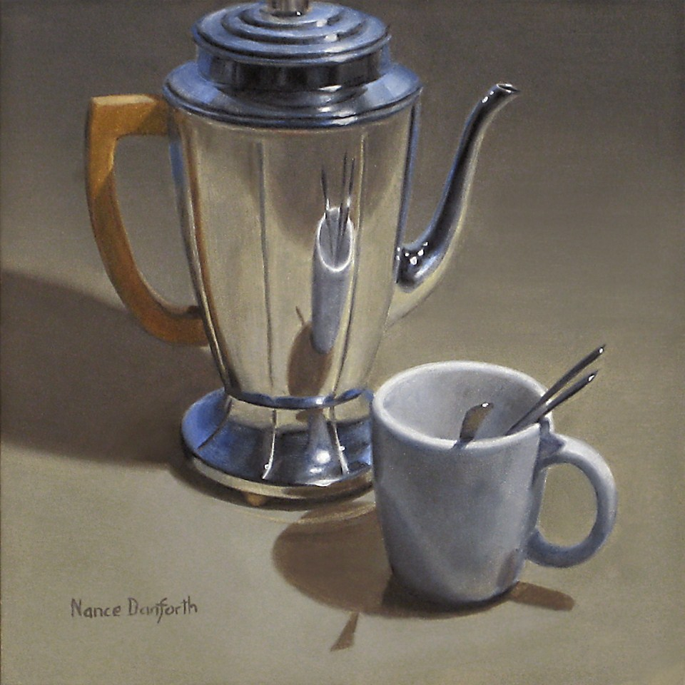 """Coffeepot with White Mug"" original fine art by Nance Danforth"