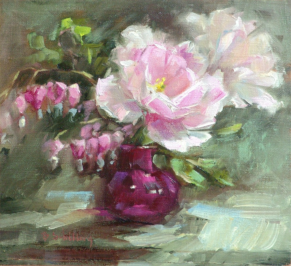 """""""Twolips and Hearts"""" original fine art by Barbara Schilling"""
