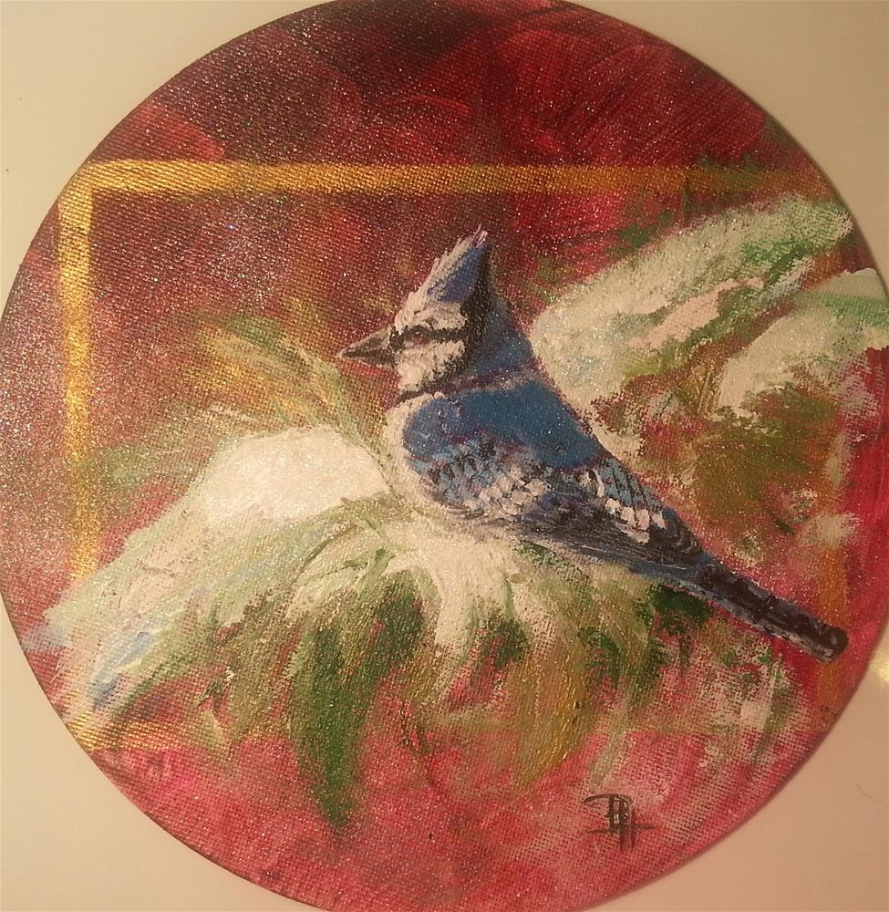 """Christmas Bluejay"" original fine art by Phyllisha Hamrick"