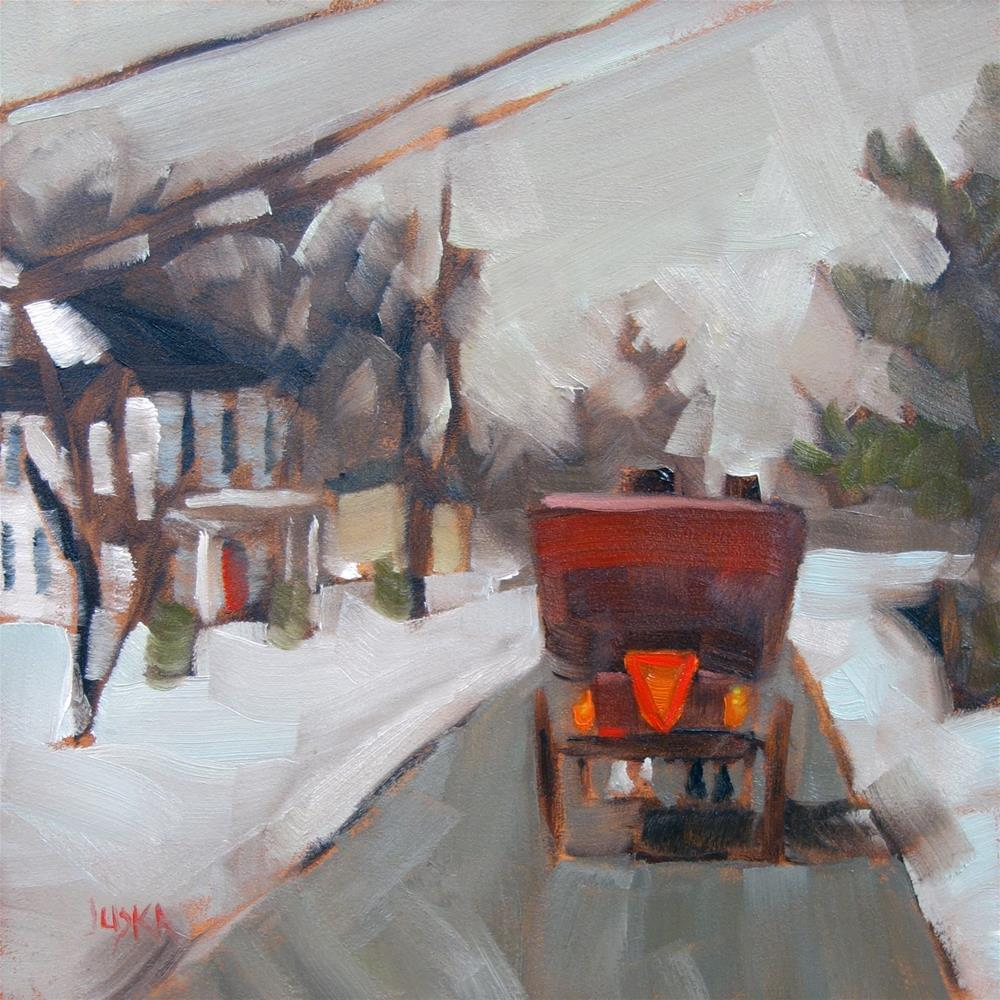 """Red Buggy on Church Street"" original fine art by Elaine Juska Joseph"