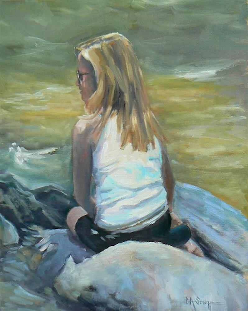"""Figurative Painting, Daily Painting, 16x20 Oil Painting, One the Rocks"" original fine art by Carol Schiff"