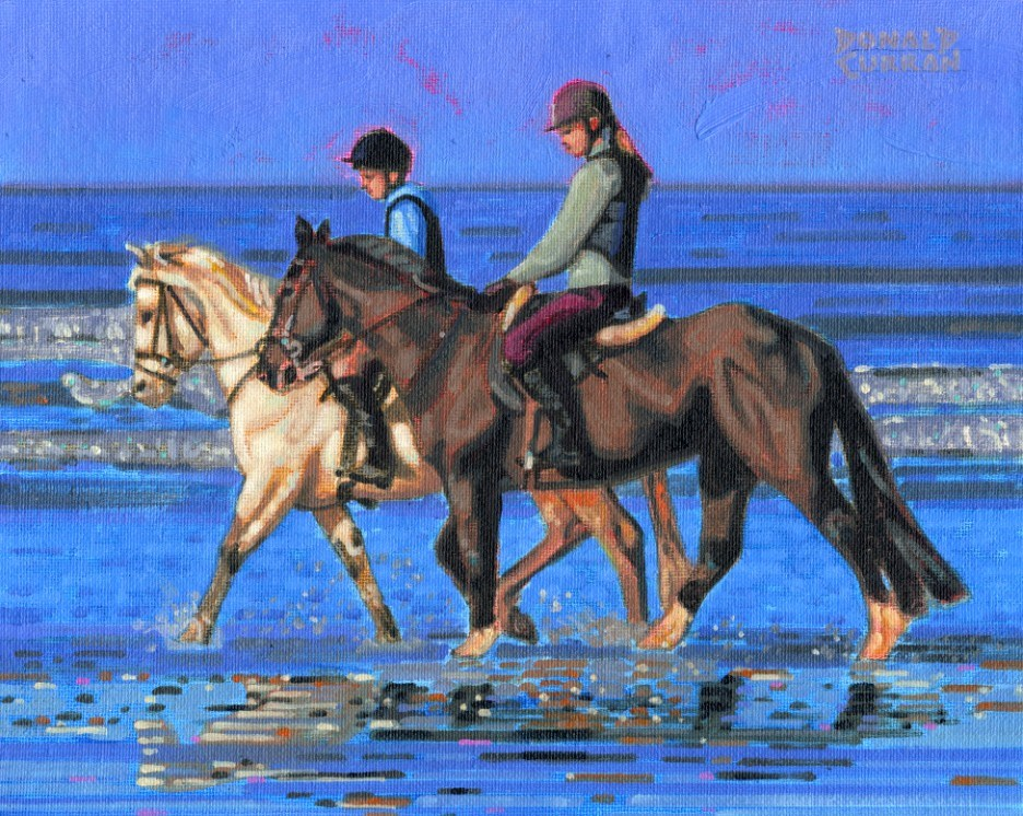 """Horses on the Beach"" original fine art by Donald Curran"