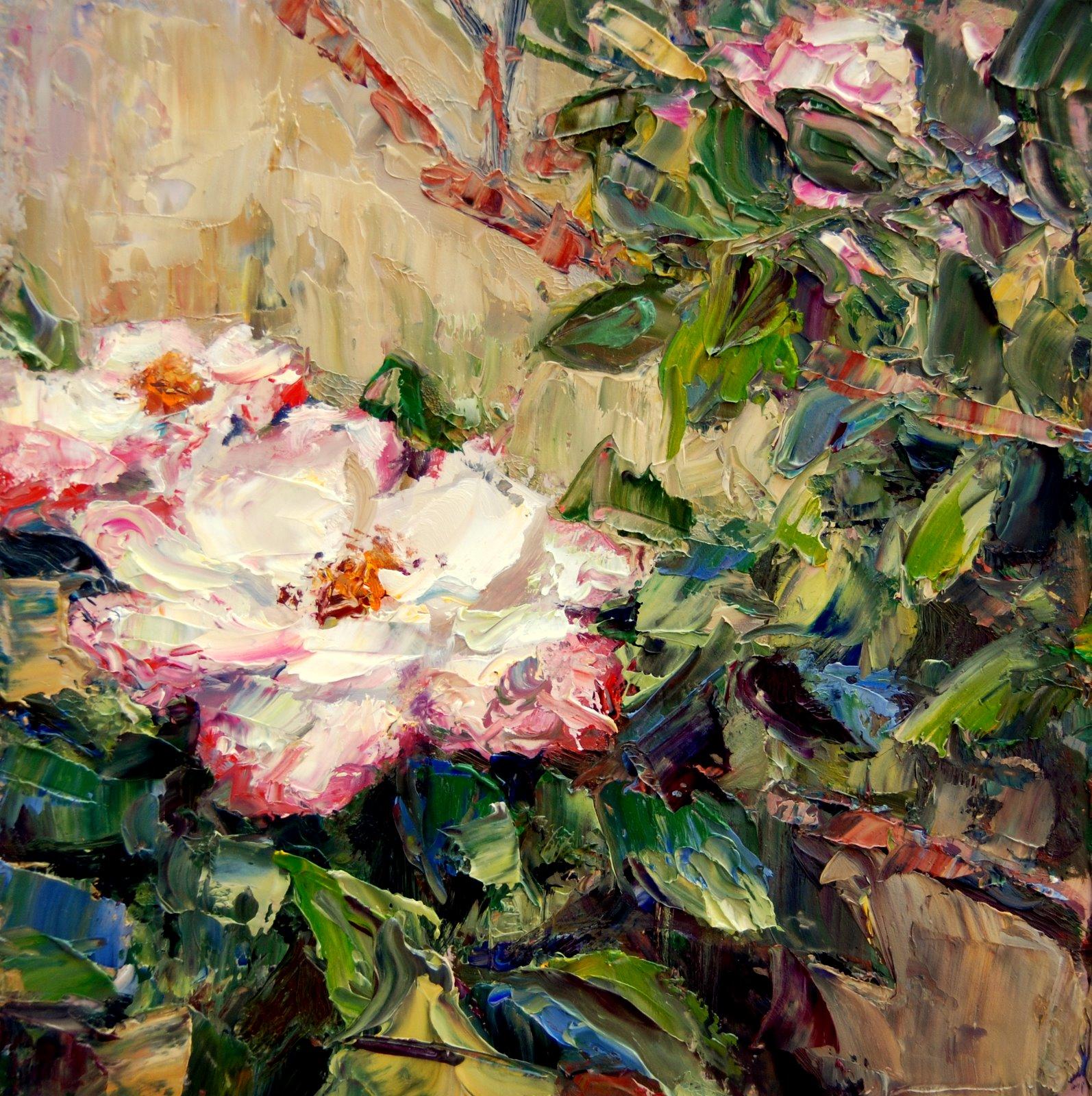 """""""Wild Roses"""" original fine art by Julie Ford Oliver"""