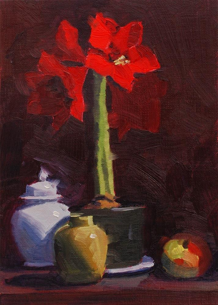 """The Amaryllis Experiment #3"" original fine art by Susan McManamen"