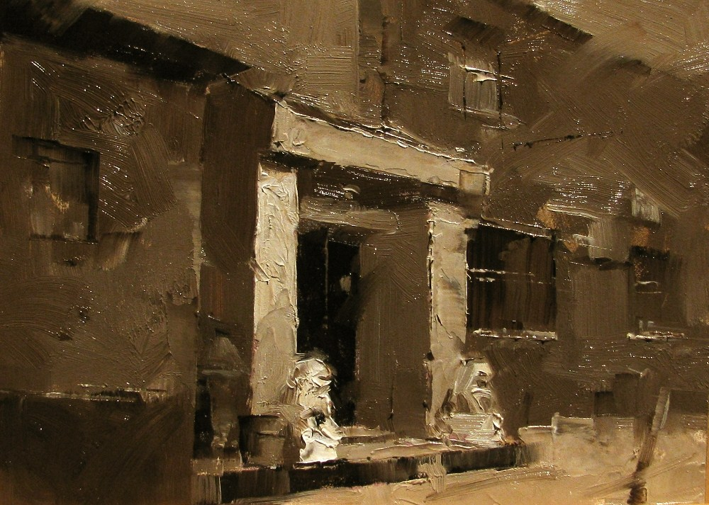 """On a Beijing Street 2"" original fine art by Qiang Huang"