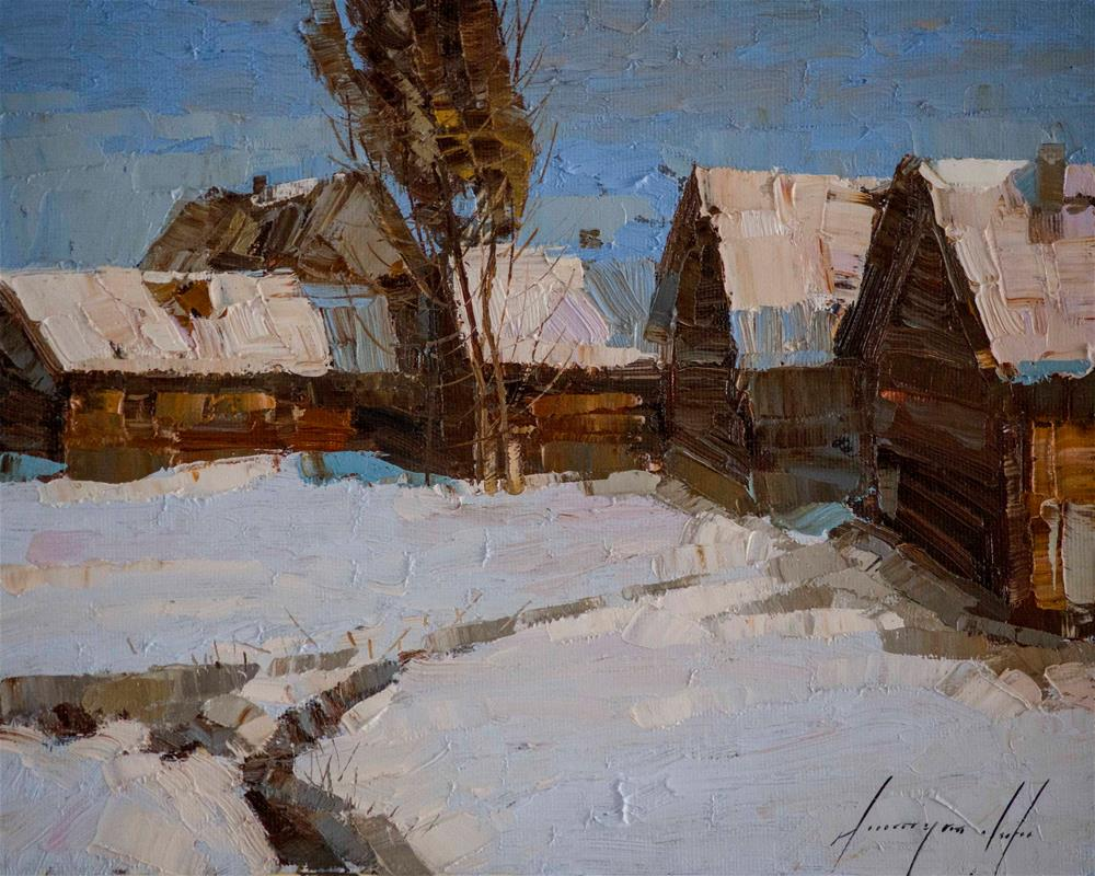 """Village Yard Original Handmade oil Painting on Canvas Signed"" original fine art by V Yeremyan"
