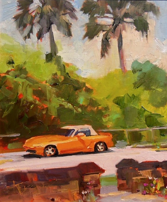 """""""Two Palms on Sanford Street  St Augustine, plein air, oil painting by Robin Weiss"""" original fine art by Robin Weiss"""