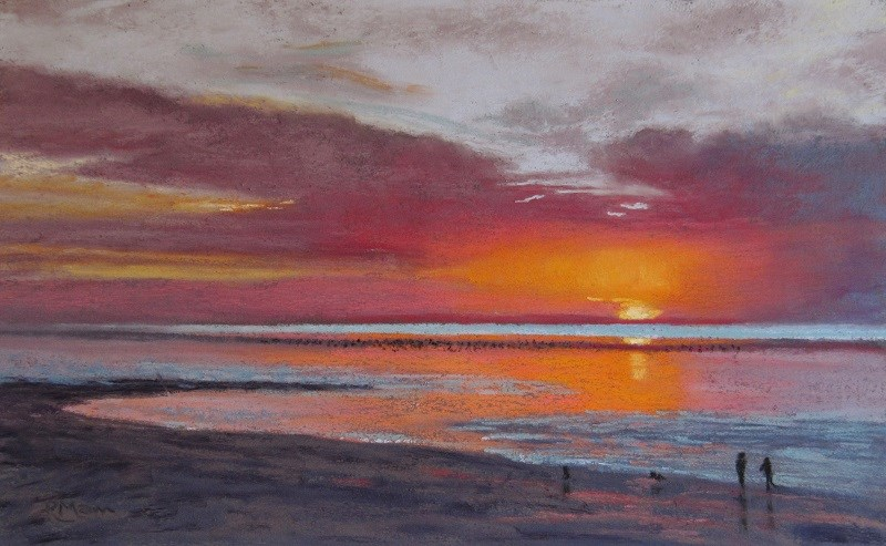 """Sunset at Heacham"" original fine art by Ruth Mann"