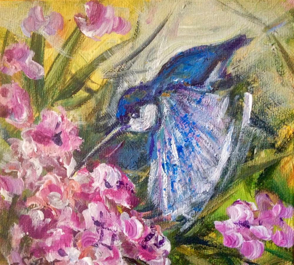 """""""Hummingbird and oleander"""" original fine art by Sonia von Walter"""