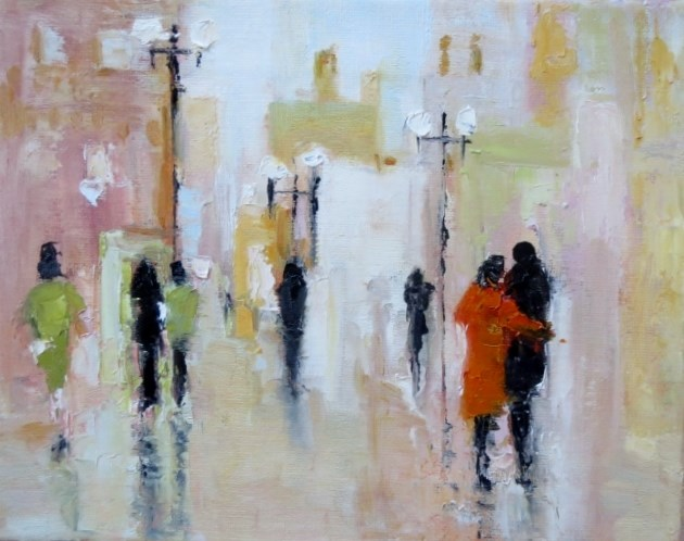 """Summer in the City together for a walk"" original fine art by Astrid Buchhammer"