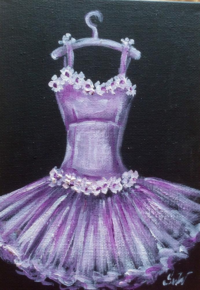 """Lilacs toutou dress with flowers"" original fine art by Sonia von Walter"