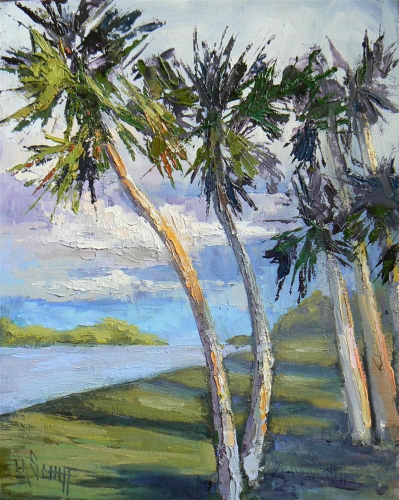 """Tropical Landscape, Palette Knife 8x10 Painting"" original fine art by Carol Schiff"
