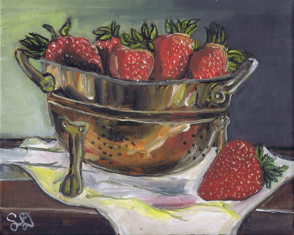 """Bowl of Red Strawberries in a Copper Colindar"" original fine art by Samara Doumnande"