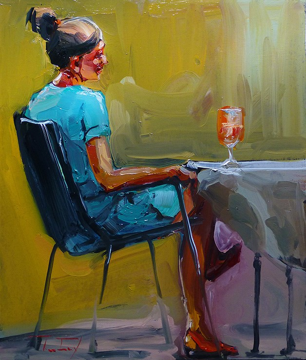 """Seated"" original fine art by Jurij Frey"