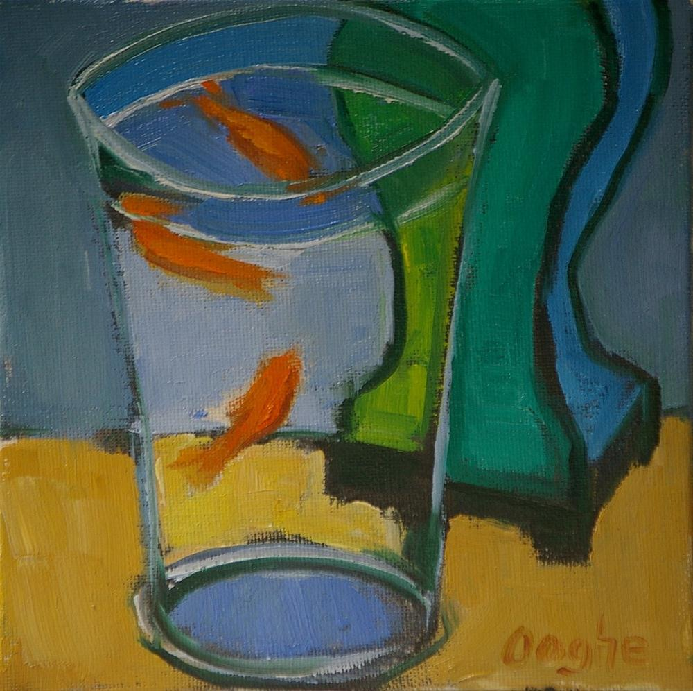 """Goldfish and Green Lamp"" original fine art by Angela Ooghe"