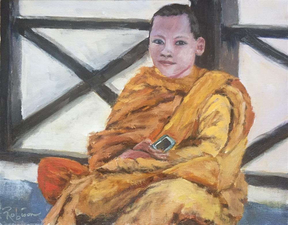 """""""Buddhist in the 21st Century."""" original fine art by Renee Robison"""
