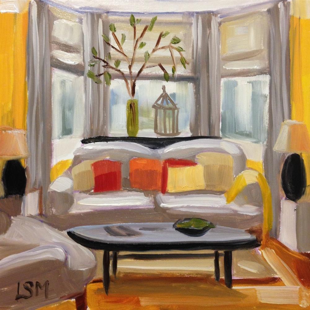 """Canary Yellow Living Room"" original fine art by Linda Marino"