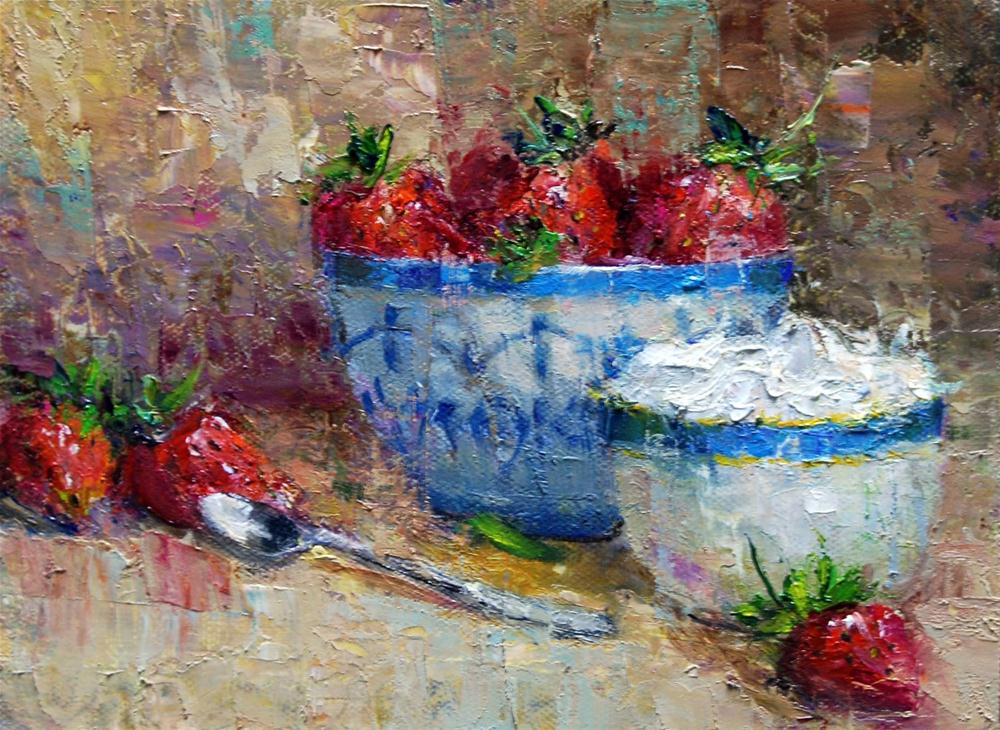 """Strawberries and Cream"" original fine art by Julie Ford Oliver"