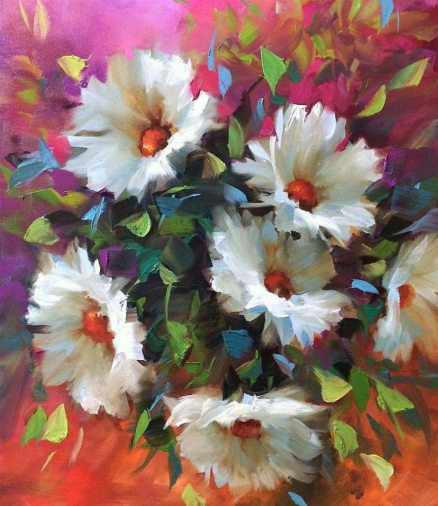 """Pinkberry Daisies"" original fine art by Nancy Medina"