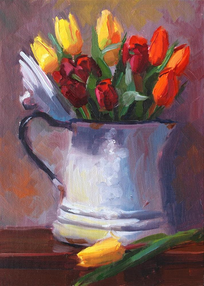"""No. 704 Tulips with Coffee"" original fine art by Susan McManamen"