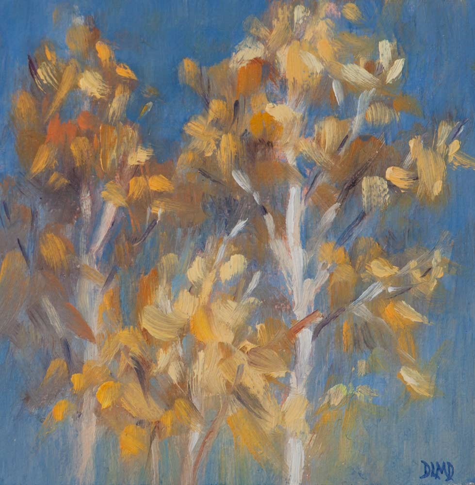 """Golds of Autumn and Daily Sketch"" original fine art by Debbie Lamey-Macdonald"