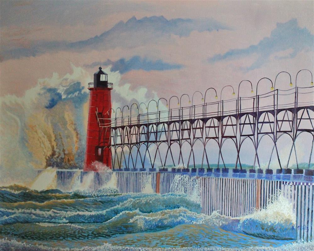"""South Haven Lighthouse"" original fine art by Alan Mintz"