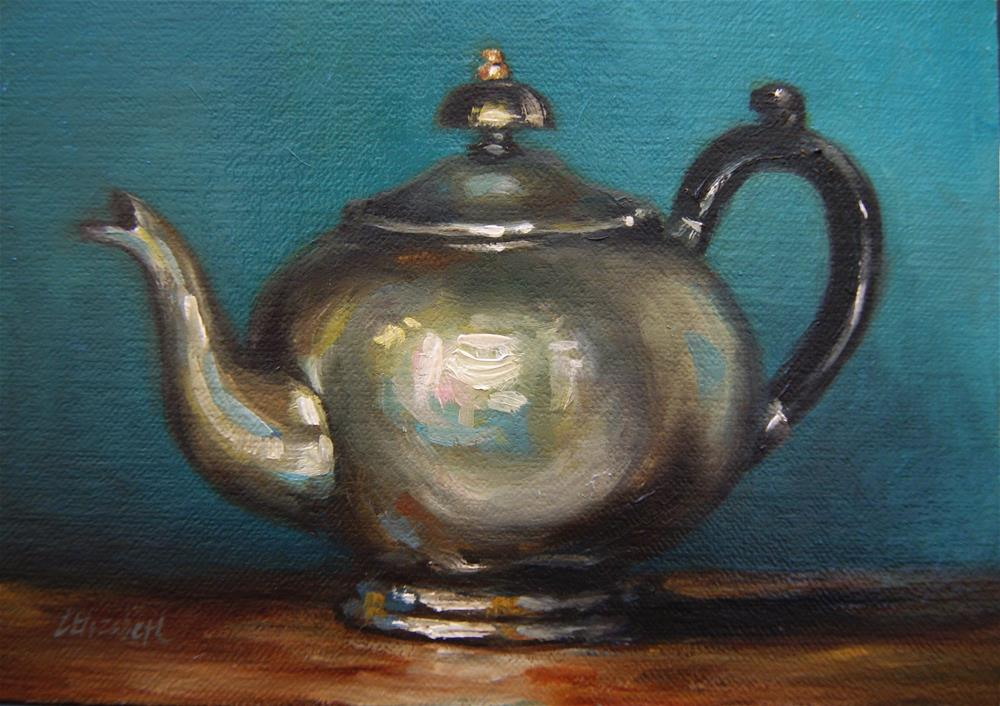 """Art Deco Teapot and Turquoise Wall,  Oil on 5x7 Linen Panel"" original fine art by Carolina Elizabeth"