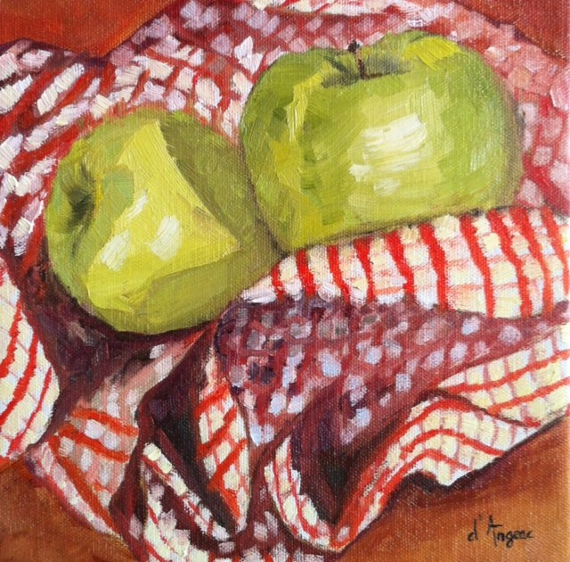 """Two Green Apples"" original fine art by Karen D'angeac Mihm"