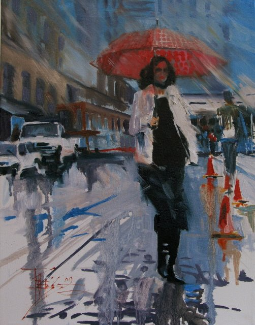"""City Squall    oil on canvas"" original fine art by Robin Weiss"