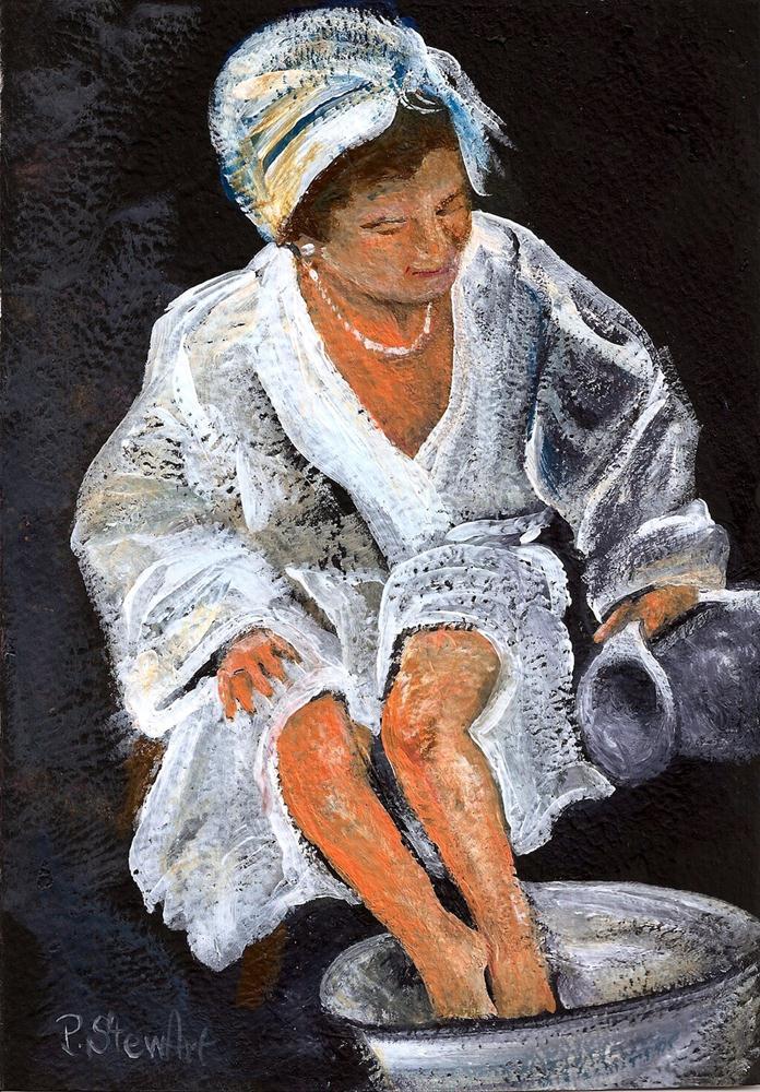 """Woman Bathing, Acrylic on 140# Watercolor paper, Original"" original fine art by Penny Lee StewArt"