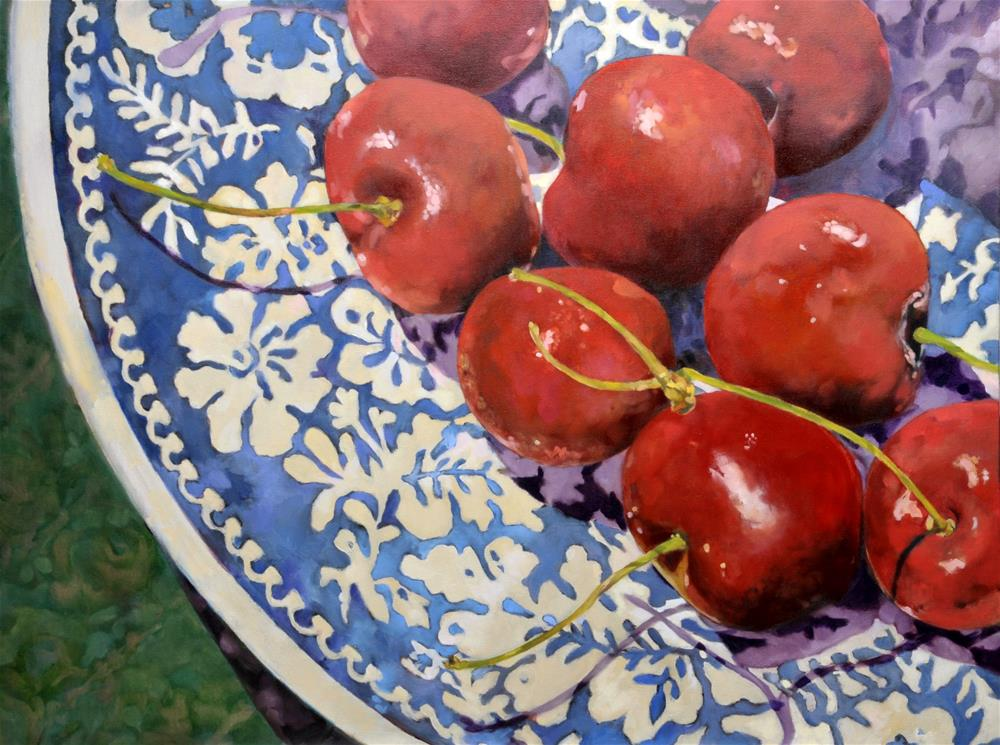 """Plate of Cherries"" original fine art by De Selby"