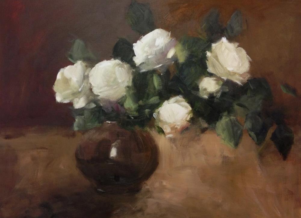 """Spring white roses"" original fine art by Parastoo Ganjei"