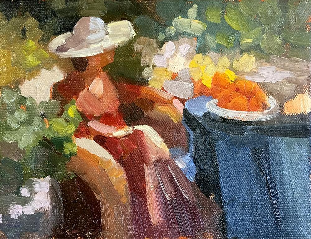 """girl in summer garden 6 x 8"" original fine art by Sally Rosenbaum"