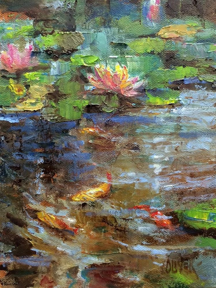 """Koi Fish and Lilies"" original fine art by Julie Ford Oliver"