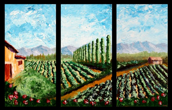 """Mark Adam Webster - Abstract Vineyard Palette Knife Acrylic Painting Triptych"" original fine art by Mark Webster"