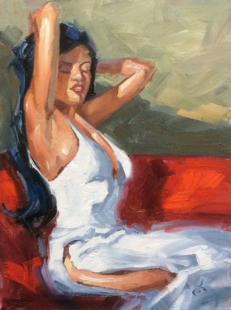 """FIGURATIVE, WOMAN IN WHITE ON RED"" original fine art by Tom Brown"