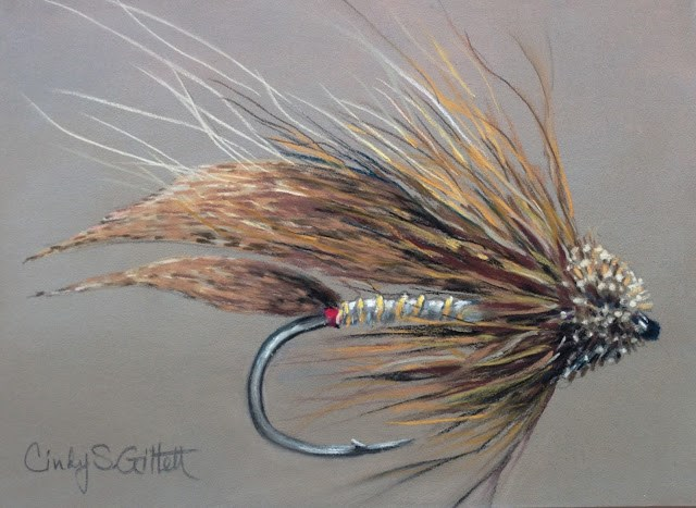 """Fly 25 - Muddler Minnow"" original fine art by Cindy Gillett"