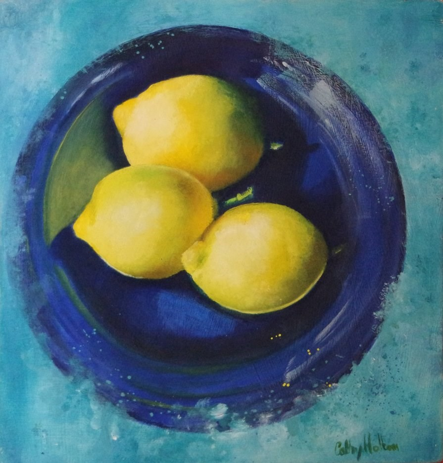 """Lemons on a blue dish"" original fine art by Cathy Holtom"