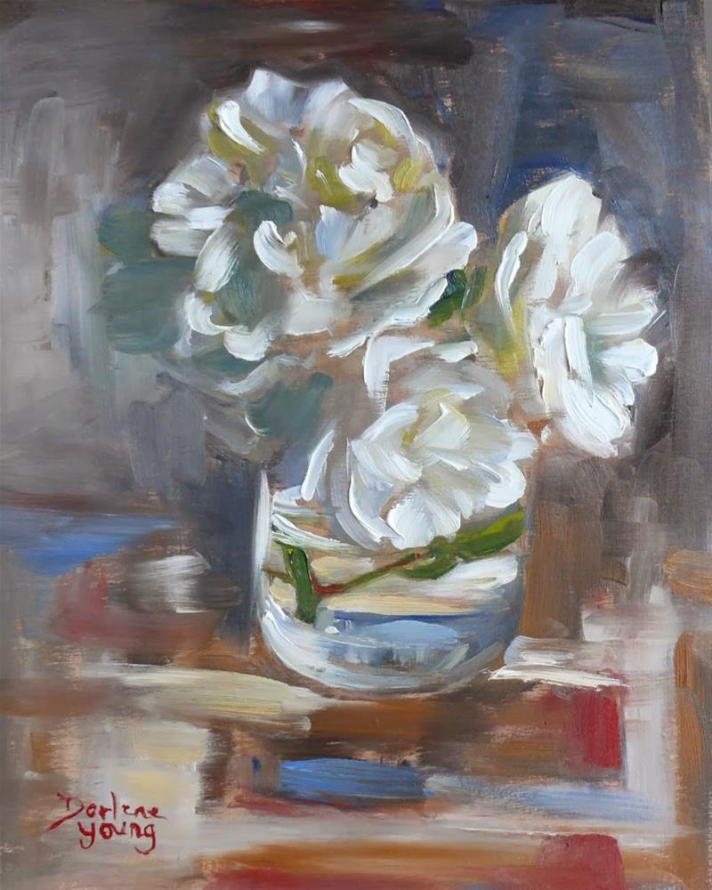 """710 White Roses"" original fine art by Darlene Young"