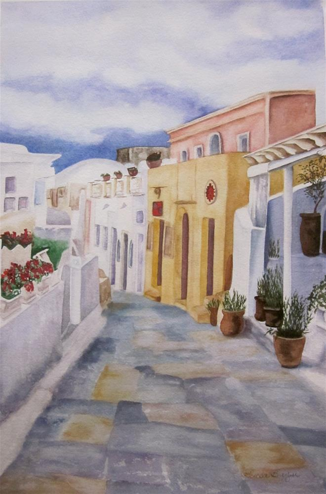 """Santorini Cloudy Day"" original fine art by Teresa Beyer"