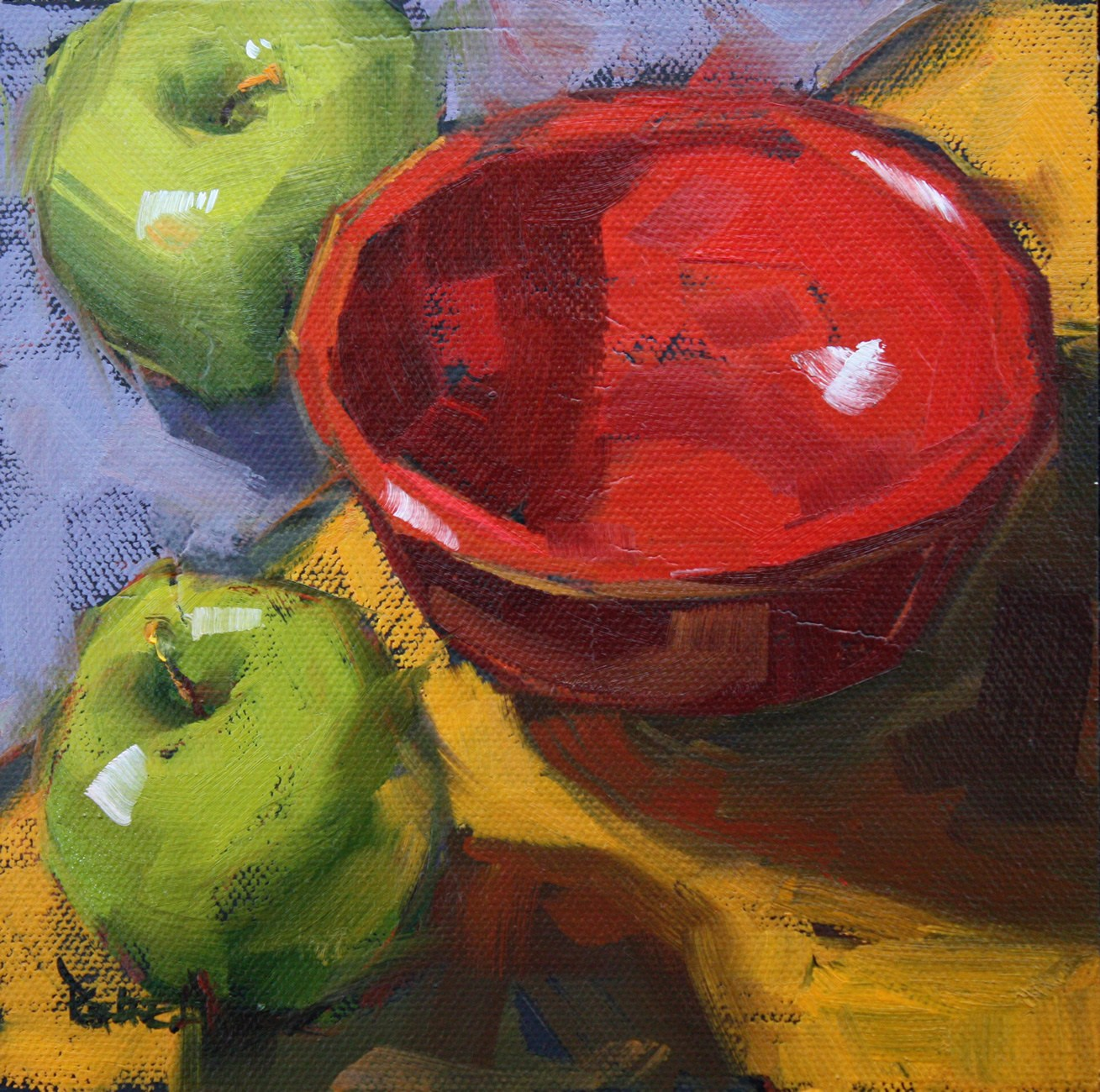 """Red Bowl"" original fine art by Cathleen Rehfeld"