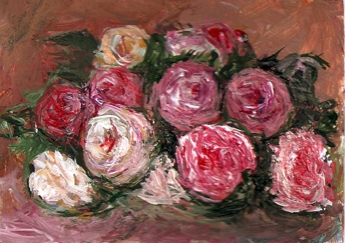 """ACEO Discarded Roses in the Style of Renoir Impressionist Painting Penny StewArt"" original fine art by Penny Lee StewArt"