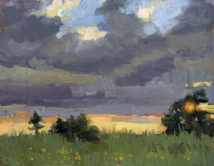 """Sunset in East Providence"" original fine art by Kathy Weber"